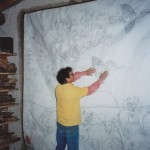 Fresco painting on Saint-Astier high calcium lime by famous artist Jean-Marc Brugeilles